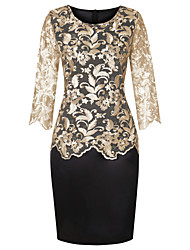 cheap -Women's Sheath Dress Knee Length Dress - Half Sleeve Print Solid Color Embroidered Mesh Lace Spring Summer Plus Size Formal Loose 2020 Gold Silver S M L XL XXL 3XL 4XL 5XL