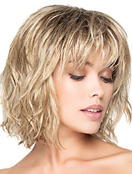 cheap -Synthetic Wig Curly With Bangs Wig Blonde Short Blonde Synthetic Hair Women's Fashionable Design Highlighted / Balayage Hair Exquisite Blonde