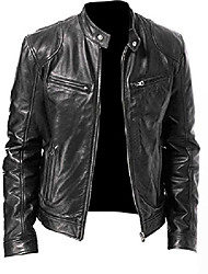 cheap -genuine leather biker jacket for men