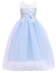 cheap -Princess Dress Party Costume Flower Girl Dress Girls' Movie Cosplay Princess Light Purple / Pink / Light Blue Dress Children's Day Masquerade Polyester