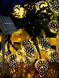 cheap -DIY Solar String Lights Moroccan Ball Multicolor 30-100LED 8 Mode Waterproof Globe Fairy String Lights Solar Powered Orb Lantern Christmas Lighting for Outdoor Garden Patio Xmas Tree Party