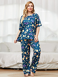cheap -Women's Home Polyester Loungewear Graphic XL Green
