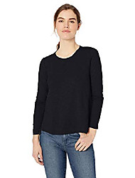 cheap -women's lightweight lived-in cotton long-sleeve swing t-shirt, olive, small