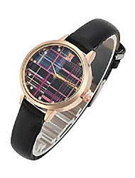 cheap -womens ladies fashion black leather wrist watch elegant simple plaid analog quartz dress watch