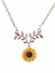 cheap -gold-color hope flowers sunflower clavicular bones pendant short yellow daisy flower necklace romantic gift