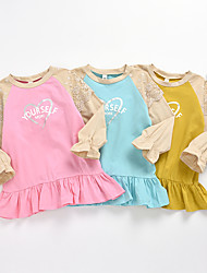 cheap -Kids Girls' T shirt Blouse Long Sleeve Blue Dusty Rose Graphic Solid Colored Mesh Lace Print Children Children's Day Tops Basic Streetwear Blue Yellow Blushing Pink