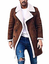 cheap -kemilove men's winter double breasted shearling lined long suede jacket Coat brown
