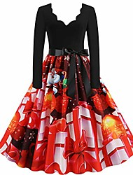 cheap -aihihe ugly christmas dresses for women long sleeve plus size 1950s casual mini dress vintage party dresses
