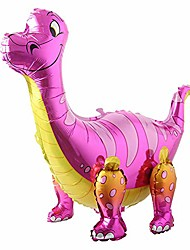 cheap -3d dinosaur balloons foil standing green dinosaur tanystropheus dragon wedding baby shower birthday party decoration supplies boy kids toys gift (pink)