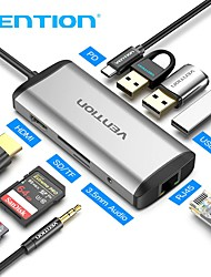 cheap -Vention USB C HUB Type-C to 4K HDMI RJ45 VGA USB 3.0 HUB Dock for MacBookPro2020 Huawei Mate 30 USB-C 3.1 Splitter Port USB-C HUB 0.15m