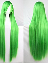 """cheap -39"""" 100cm long straight hair wig synthetic cosplay costume wig halloween party wig (green)"""