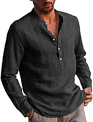 cheap -mens long sleeve linen cotton henley shirts casual regular fit basic yoga top beach shirt black