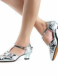 cheap -women's t-strap glitter salsa tango ballroom latin wedding dance shoes low heel 4.5 cm,silver,model zk85, 5.5 b(m) us