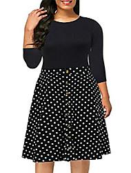 cheap -women's casual 3/4 sleeve fit and flare dress plus size button down vintage swing midi dress nem217 (18w, black+dot)