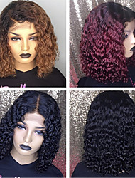 cheap -Front lace wig dyeing gradient wine red short curly golden puff head African black chemical fiber hair cover