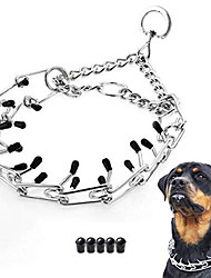 """cheap -dog prong collar, classic stainless steel choke pinch dog chain collar with comfort tips, 5 (xl-23.6"""", silver)"""
