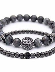 cheap -2pc/set cubic zirconia crown skull bracelet black matte onyx natural stone beads bracelets for men, black