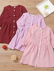 cheap -Kids Little Girls' Dress Dusty Rose Solid Colored Bow Purple Blushing Pink Wine Cotton Knee-length Long Sleeve Basic Cute Dresses Children's Day Loose