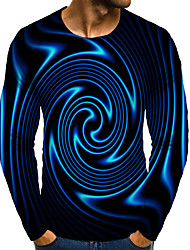 cheap -Men's Graphic 3D Plus Size T shirt 3D Print Print Long Sleeve Daily Tops Elegant Exaggerated Round Neck Blue