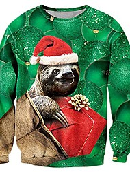 cheap -funny 3d ugly christmas sweater men hilarious santa sloth graphic sweatshirts winter fall personalized plus size xmas sweater shirts jumpers for women man male teens xx-large
