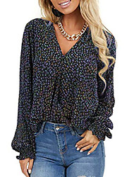 cheap -womens autumn loose leopard printed long sleeve v neck casual high low hem chiffon work flowy shirts and tops blouses m