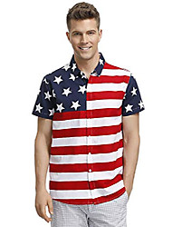 cheap -american flag men's july 4th casual patriotic button down shirt cotton short sleeve polo tops star stripe l