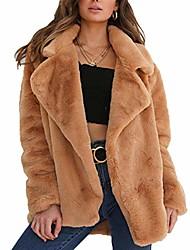 povoljno -ženski zimski pahuljasti kaput - ležerni dugi rukav, topli nejasni rever čupava odjeća od umjetnog krzna, zimska smeđa us m