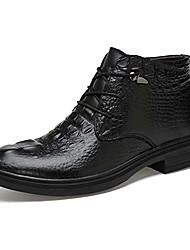 cheap -men's ankle boots fooling grade crocodile print ox leather high top formal shoes(quick velvet optional) (color : warm black, size : 3.5 m us big kid)