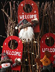 cheap -Christmas Decorations Wooden Cartoon Door Hanger Creative Wooden Snowman Pendant