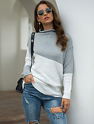 cheap -Women's Basic Knitted Color Block Pullover Long Sleeve Sweater Cardigans Turtleneck Fall Winter Wine Khaki Light gray