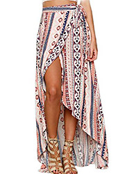 cheap -women boho skirt summer wrap chiffon bohemian floral maxi skirts pink one size