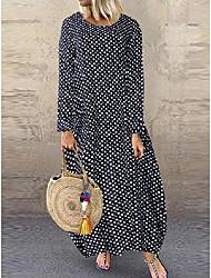 cheap -Women's Shift Dress Maxi long Dress - Long Sleeve Polka Dot Print Print Spring Summer Plus Size Work Elegant Loose 2020 White Black Blue M L XL XXL 3XL 4XL 5XL
