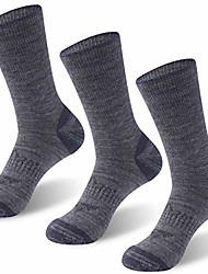 cheap -merino wool socks crew, men's and women's midweight warm wicking wool hiking running ski outdoor socks soft comfortable winter sleeping around house socks 3 pairs large dark gray