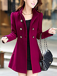 cheap -Women's Solid Colored Active Fall & Winter Coat Long Daily Long Sleeve Polyster Coat Tops Blue