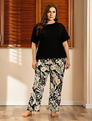 cheap -Women's Home Polyester Loungewear Floral / Botanical XL Black
