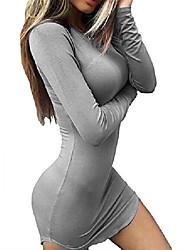 cheap -women's sexy bodycon tight long sleeve mini t shirts dresses irregular hem xl grey