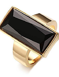 cheap -stainless steel gold plated rectangular black glass crystal ring for women, size 9