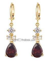 cheap -women luxury 18k gold plated red tear drop dangle drop earrings gift ideas