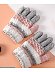 cheap -2pcs Toddler Unisex Active Color Block Knitted Knitwear Gloves Blue / Red / Blushing Pink One-Size