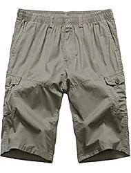 cheap -men's summer loose fit long cargo shorts dark khaki us 32 / as xl