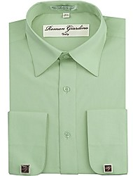 cheap -men's dress shirt aqua green long convertible sleeve collar machine washable free cufflink 16.5 32/33
