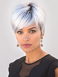 cheap -Synthetic Wig Natural Straight With Bangs Wig Short Silver grey Synthetic Hair Women's Odor Free Fashionable Design Cool Silver