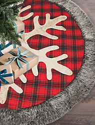cheap -Christmas Decoration Flower Lattice Tree Skirt 48 Inch Big Snowflake Christmas Tree Skirt Tree Bottom Apron Christmas Tree Skirt
