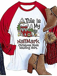 cheap -women's t-shirt this is my hallmark christmas movie watching shirt fashion casual long sleeve tops red