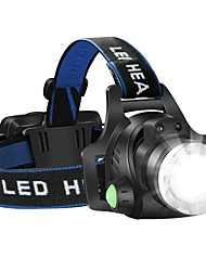 cheap -Headlamps Headlight Waterproof Rechargeable 1600 lm LED LED Emitters 3 Mode with Batteries and Charger Waterproof Zoomable Rechargeable Adjustable Focus Impact Resistant Strike Bezel Camping / Hiking