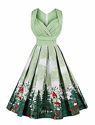 cheap -women's christmas printed 1940s retro vintage hollywood swing midi dress f131-1370 green m