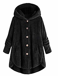 cheap -Women's Others Solid Color Modern Style Casual Fall & Winter Coat Regular Casual / Daily Polyester Coat Tops Black