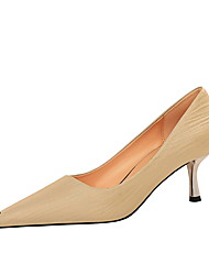 cheap -Women's Heels Pumps Pointed Toe Vintage Minimalism Party & Evening Solid Colored Satin Almond / Black / Red