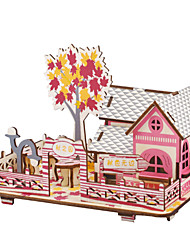 cheap -3D Puzzle Wooden Puzzle DIY Toys House DIY Wooden Natural Wood Unisex Toy Gift