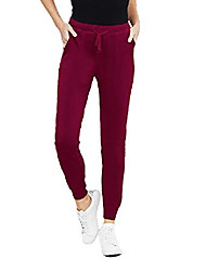 cheap -womens french terry sim fit jogger lounge sweatpants w/pockets full length - wine small